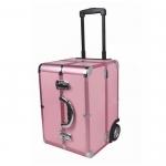 Кейс для визажиста, алюминиевый, розовый, размер 36Х22Х55см.