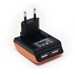 Универсальное USB зарядное устройство, Lightning Power, LP-T057B, Домашнее, Поддержка iPad3, 2 USB-порта, Вход 220В, Выход 2(5В 0.5A), Оранжево-Чёрный, Блистер